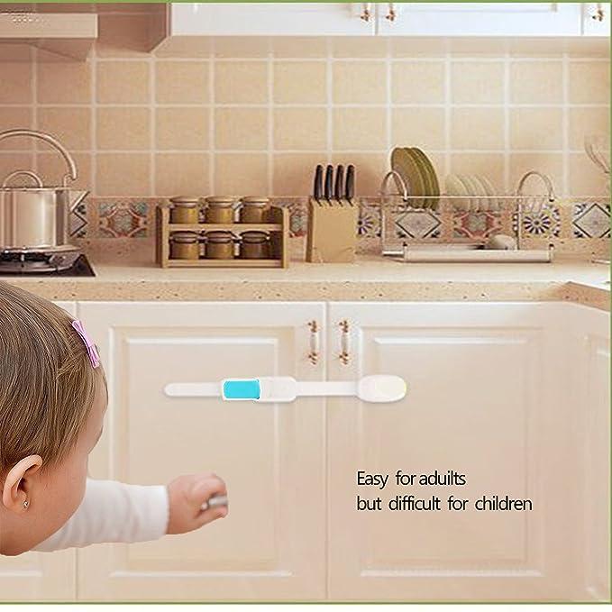 Jiechang Resistente Adhesivo,Para Proteccion Beb/és y Nios,Cierre de seguridad para armarios,gabinetes y cajones a prueba de nios y beb/és Bloqueo De Seguridad Bebes Azul 6 Piezas