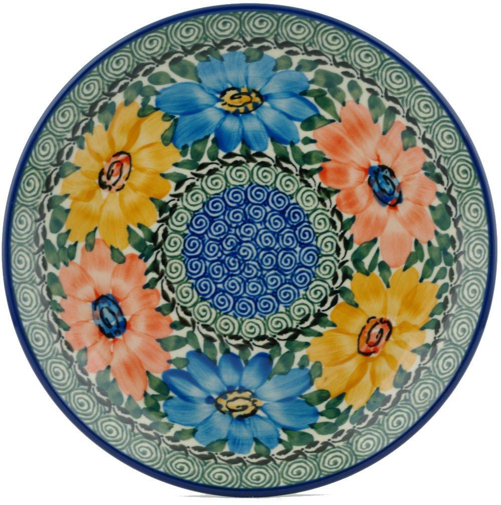 Polish Pottery Dessert Plate 8-inch Summer Dance UNIKAT made by Ceramika Artystyczna