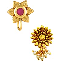 Om Jewells Gold Plated Indo Western Jewellery Combo of 2 Delicate Nath Nose Pin/Nose Ring for Girls and Women CO1000194