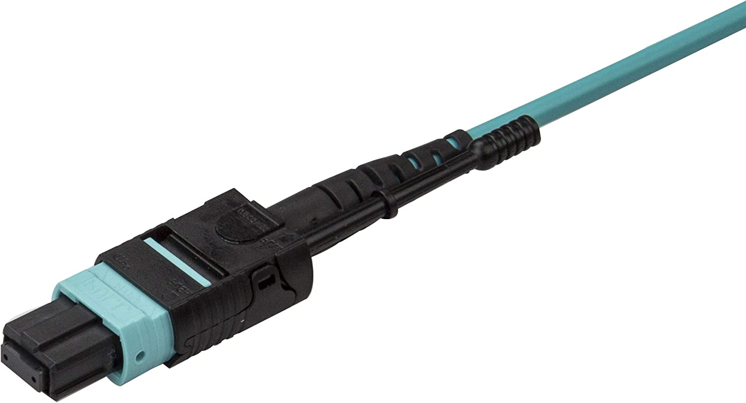 StarTech.com MTP to LC Breakout Cable OM3 Multimode Plenum 40Gb MPO8LCPL2M Fiber Optic Cable MPO//MTP Connector Pull Tab 6 ft // 2m