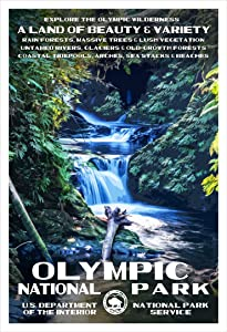 "Olympic National Park Poster - Original Artwork - 13"" x 19"" by Rob Decker - WPA Style"