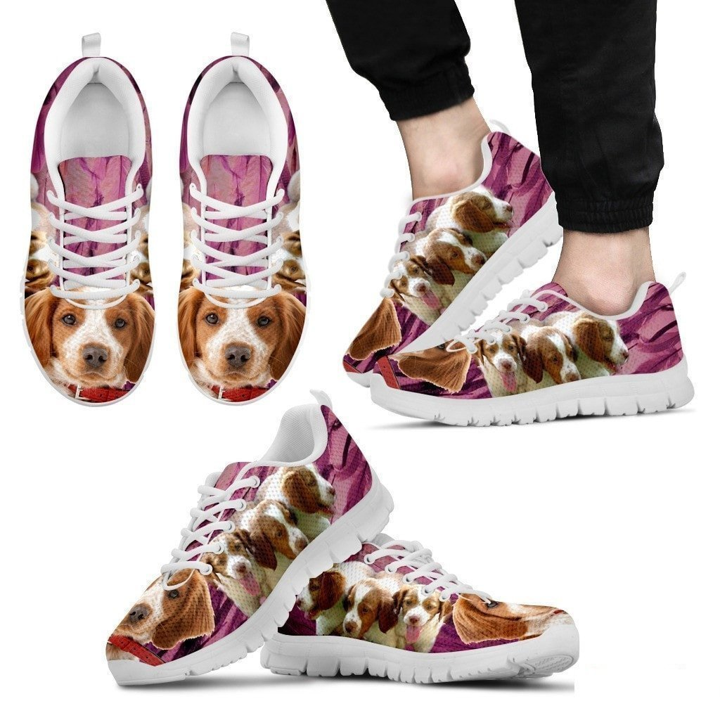 for Brittany Dog Lovers Pawlice Mens Sneakers-Brittany Dog Print Casual Running Shoes-