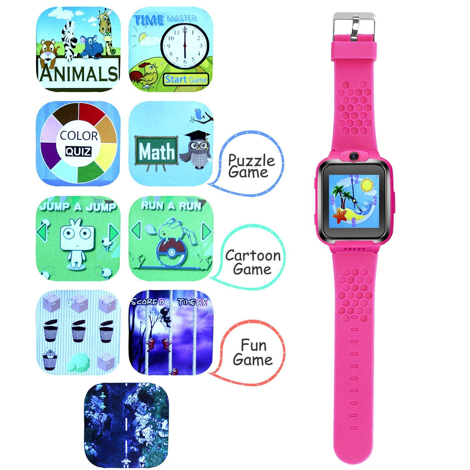ZOPPRI Kids Game smartwatch Touch Screen Kinds of Games Kids Watch Theme Calendar Stopwatch Alarm Clock Photo Timer Multi-Function Watch Toy Gift for 3-12 Years Old boy Girl Birthday Gift (Pink) by ZOPPRI (Image #4)