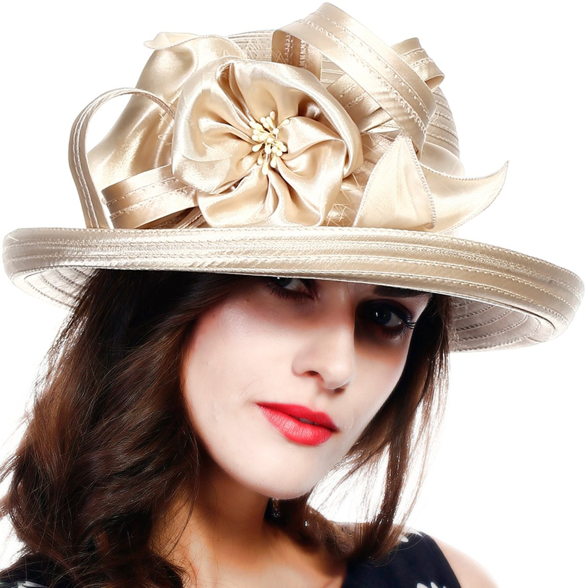 FORBUSITE Large Kettle Brimmed Satin Braid Church Hats Derby Party Hats for Womens SD710 SD710-DK-BK