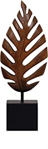 Decozen Artistic Handmade Wooden Leaf Sculpture A Symbol of Peace and Harmony for Room Decoration Handcrafted Art Sculpture for Living Room Hallway Guest Room Console Table Home Decor