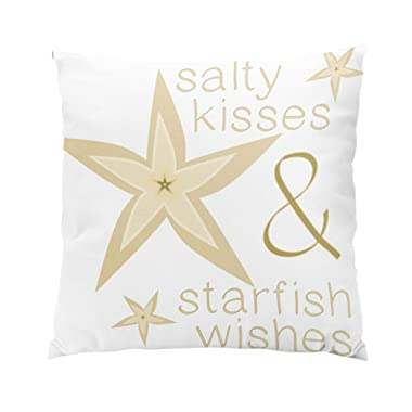Suklly Romantic Square Salty Kisses Starfish Wishes Hidden Zipper Home Sofa Decorative Throw Pillow Cover Cushion Case 18x18 Inch Two Sides Design Printed Pillowcase