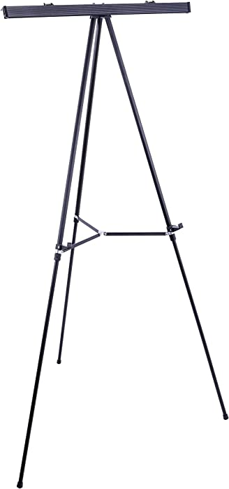 "U.S. Art Supply 66"" High Boardroom Black Aluminum Flipchart Display Easel and Presentation Stand - Large Adjustable Floor and Tabletop Portable Tripod, Holds 25 lbs - Holds Writing Pads, Poster Boards"