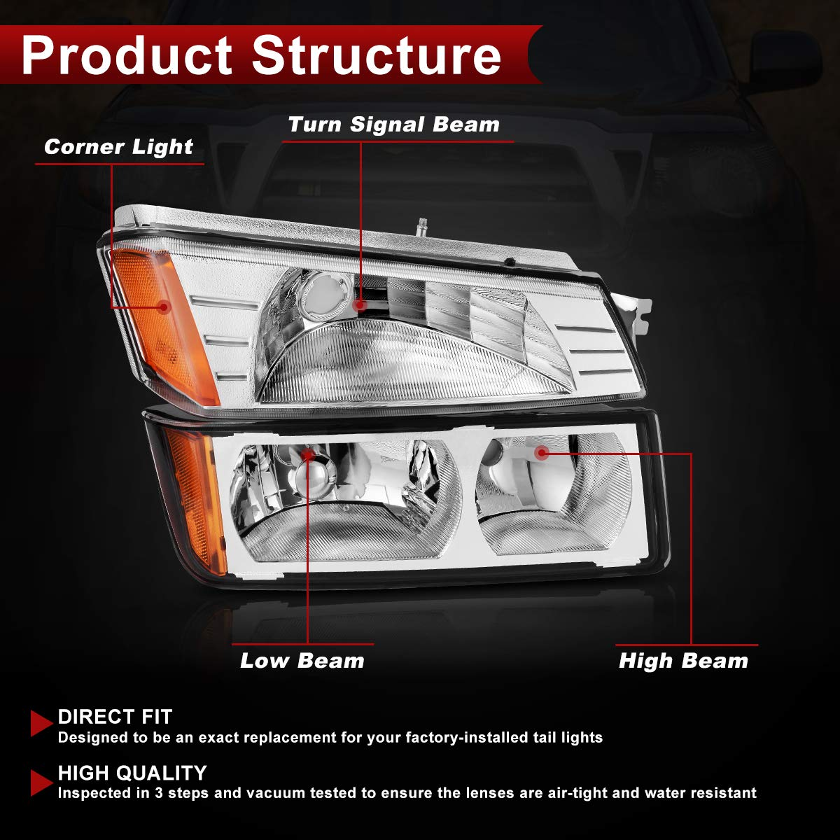 Headlight Assembly for 2002 2003 2004 2005 2006 Chevy Avalanche with BODY CLADDING,Chrome Housing Amber Refletor with Signal Lights
