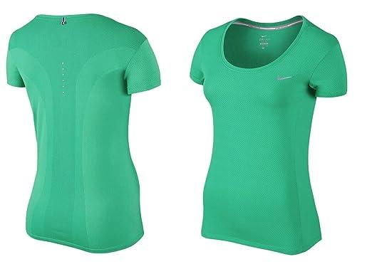 979105f47 NIKE Women's Dri-Fit Contour Running T-Shirt Spring Leaf Green/Reflective  849877