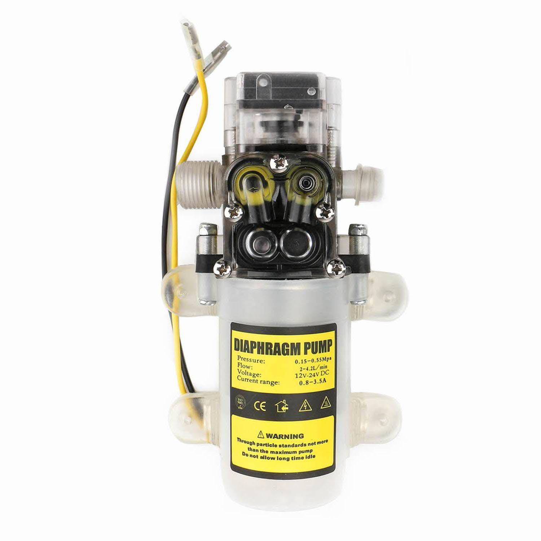 Self Priming Diaphragm Pump, EnPoint Automatic Water High Pressure Diaphragm PUM 12V DC 60W 4.2L/Min 0.65Mpa 80PSI 50M Head Sprayer Pump for Caravan Lawn RV Marine Boat Plant-Watering Car Washing
