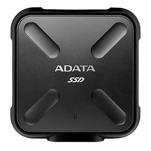 ADATA SD700 512GB Durable External 3D NAND Solid State Drive, IP68 Dustproof Waterproof, Military-Grade Shockproof, Up to 440MB/s Read and Write, Black (ASD700-512GU3-CBK)