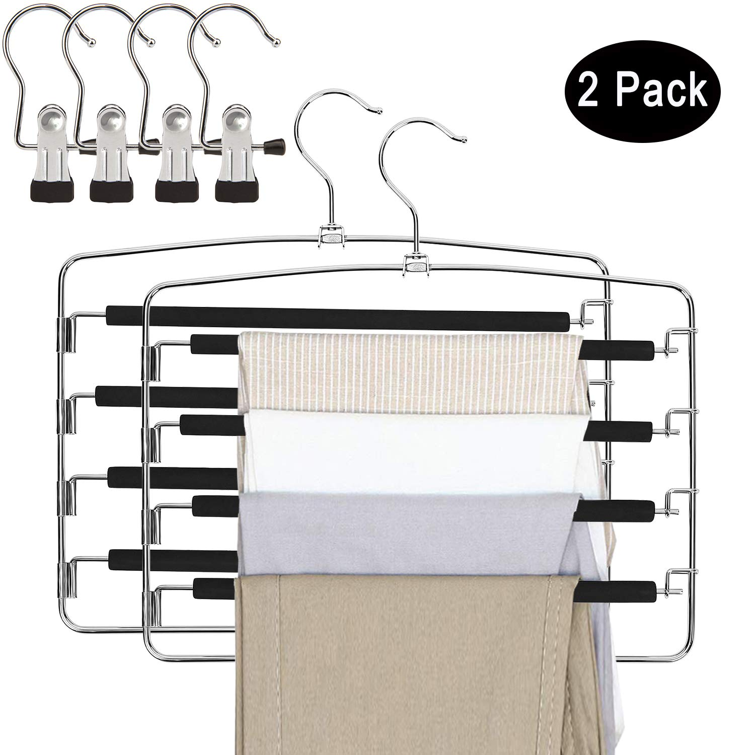 DUOFIRE Pants Hangers 2 Pack Jeans Hangers Multi Layers Metal Swing Arm Slacks Hangers Non Slip Space Saving Hanger Closet Storage Organizer for Pants Jeans Trousers Scarf (With 4 Portable clothespins) product image
