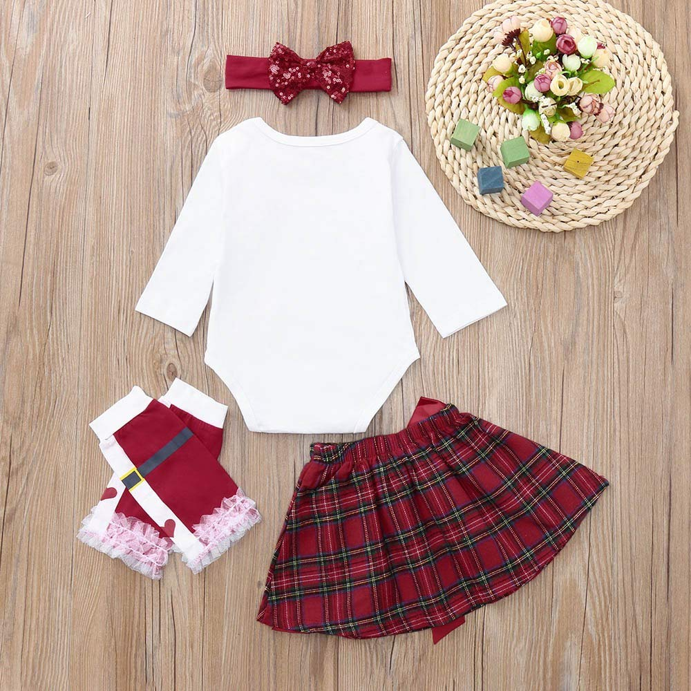 Lurryly❤Christmas Clothes for Girls Romper+Bow Skirt+Leg Warmer+Headbands Baby Outfits 0-2T