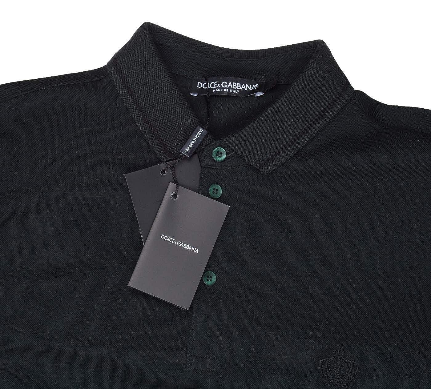 c80459a75 Amazon.com: Dolce & Gabbana Men's Dark Green Crown 'Corona' Short Sleeve  Polo Shirt, Green, EU 48 / US S: Clothing