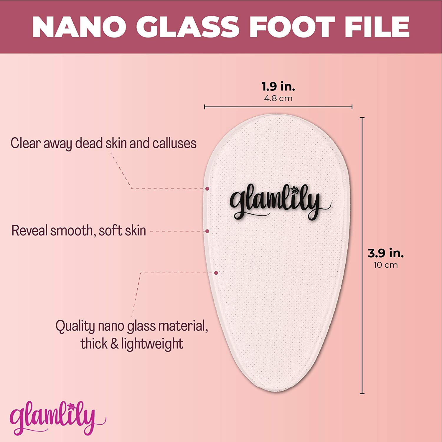 Clear Nano Glass Foot File and Callus Remover for Pedicure (1.9 x 3.9 Inches) : Beauty