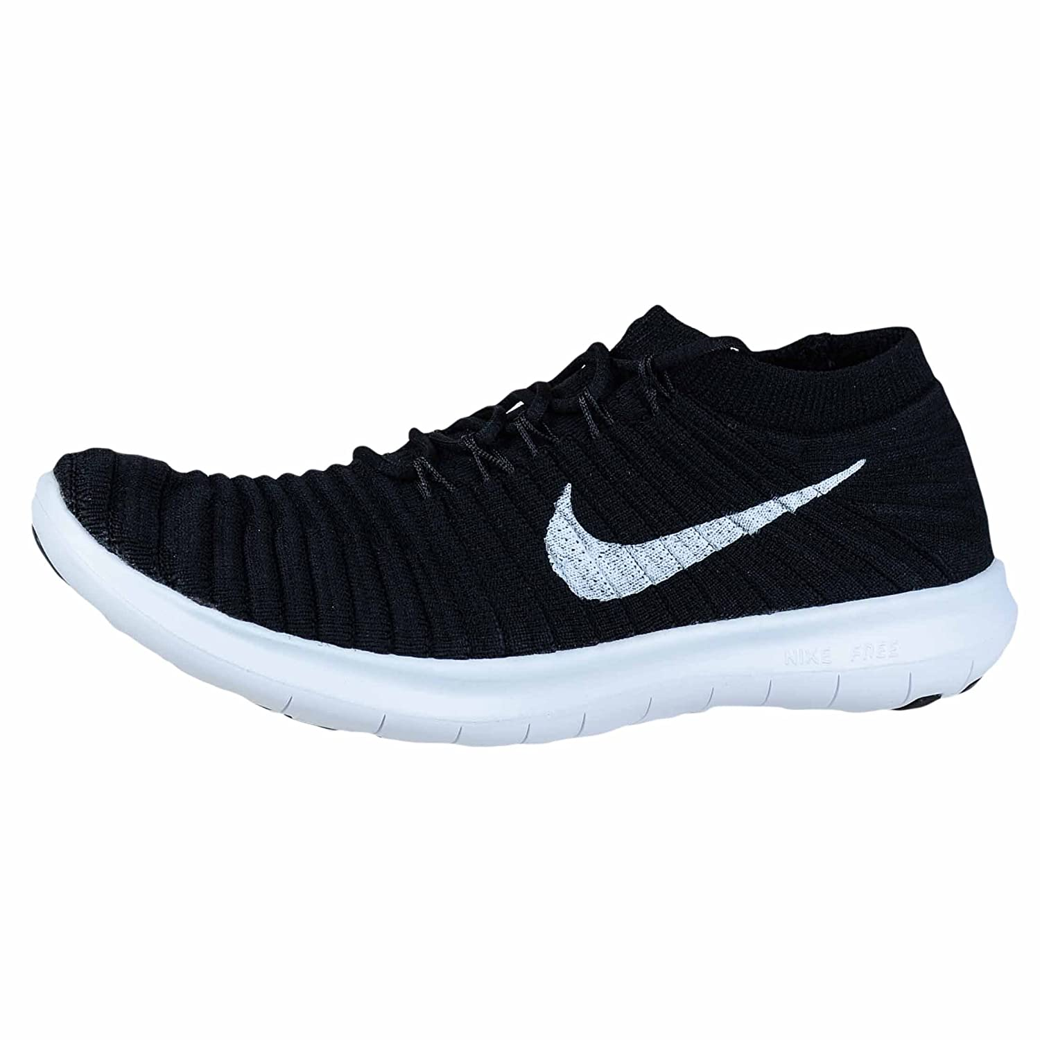 Amazon.com | Nike Womens Free Running Motion Flyknit Shoes, Black/white-volt-dark Grey - 10 B(M) US | Road Running