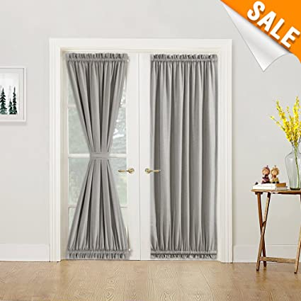 Amazon Privacy French Door Curtains With Tieback Linen Textured