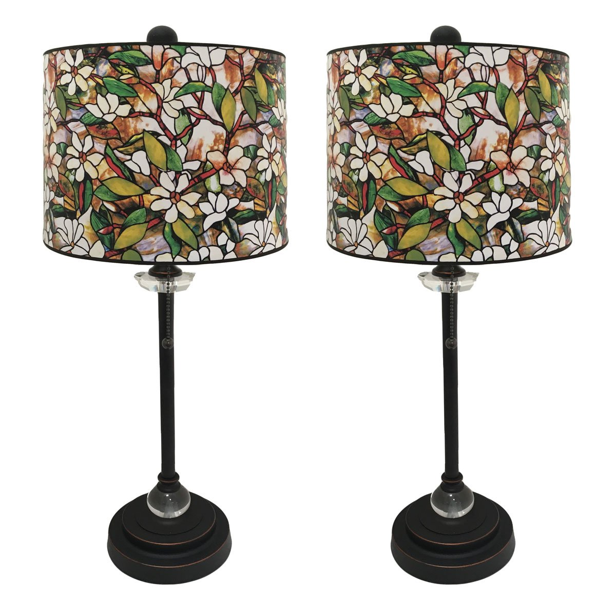 Royal Designs 28'' Crystal and Oil Rub Bronze Buffet Lamp with Magnolia Stained Glass Design Hard Back Lamp Shade, Set of 2