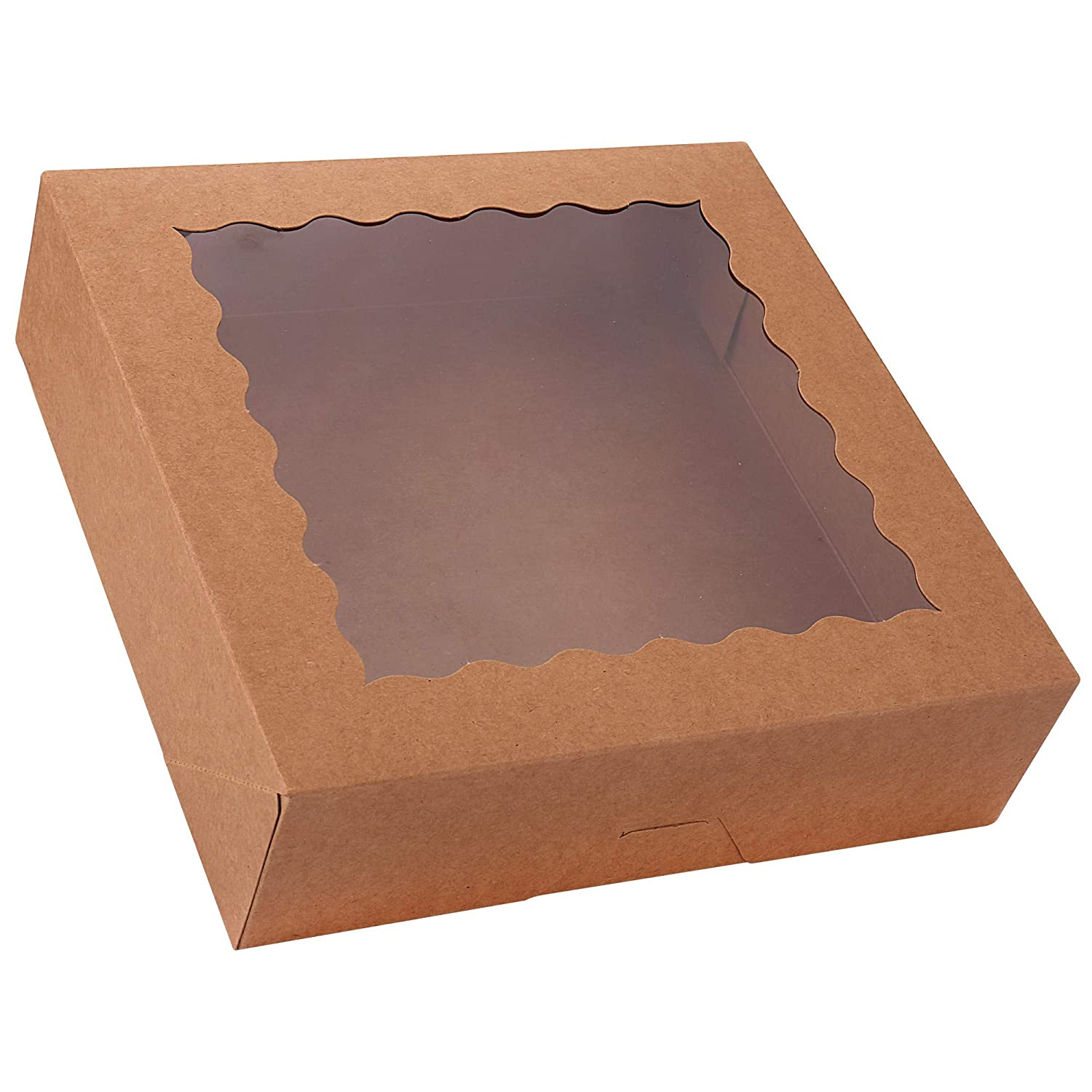 """20-Pack Pie Boxes with Window, 10"""" x 10"""" x 2.5"""", Large Kraft Cookie Boxes, Brown Bakery Boxes for Muffins, Donuts and Pastries"""