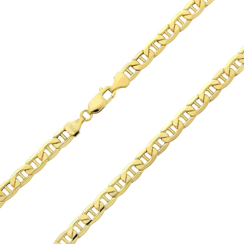 14 Karat 585 Gold Italienisch Flach Mariner Kette Gelbgold - Breite 3.10 mm - Länge wählbar PRINS JEWELS mariner1-14