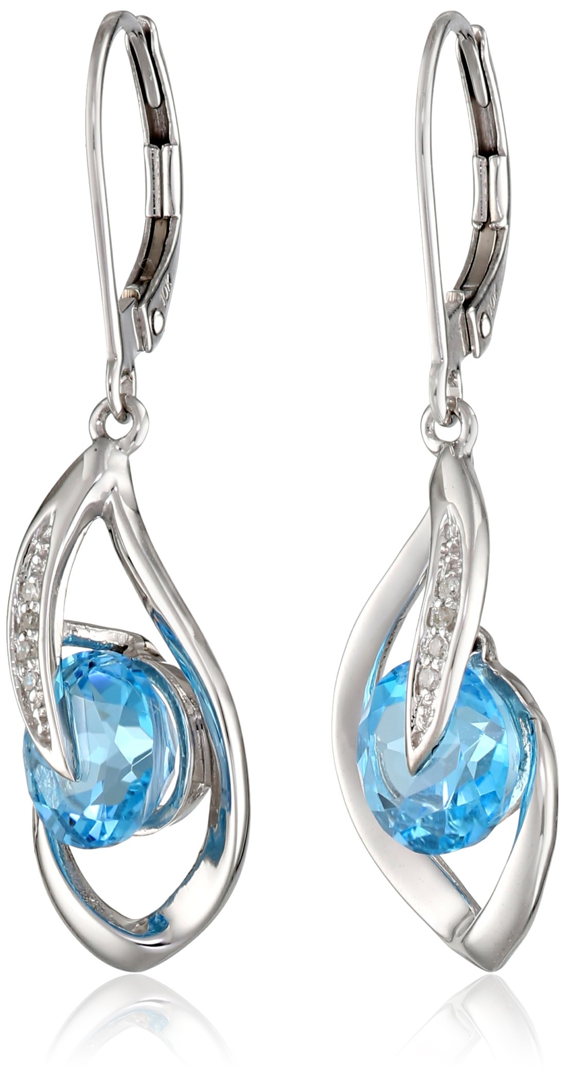 10k White Gold Swiss-Blue-Topaz and Diamond Accent Flame Drop Earrings