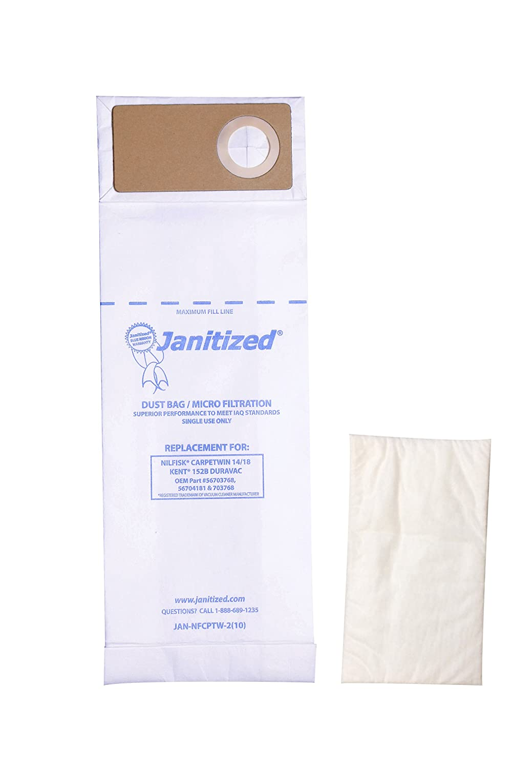 Janitized JAN-NFCPTW-2(10) Premium Replacement Commercial Vacuum Paper Bag, Nilfisk Advance CarpeTwin Upright 14/18, Advac and Kent 152B, DuraVac, OEM# 56703768, 56704181 and 703768 (Pack of 10)