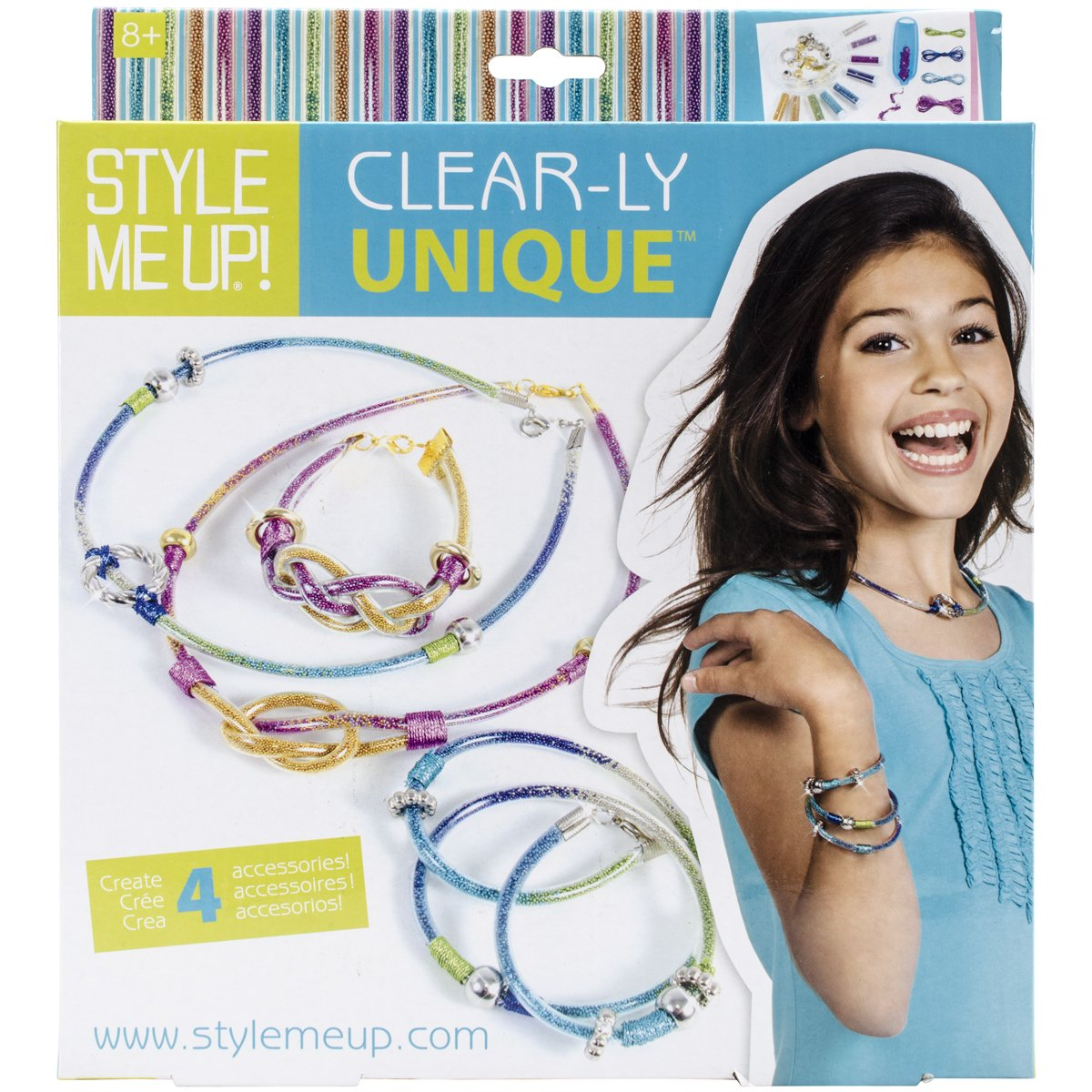 Girls Bracelet and Necklace Craft Kit SMU-624 Wooky Entertainment W624 Style Me Up Kids DIY Bead Bracelet and Necklace Craft Set for Girls