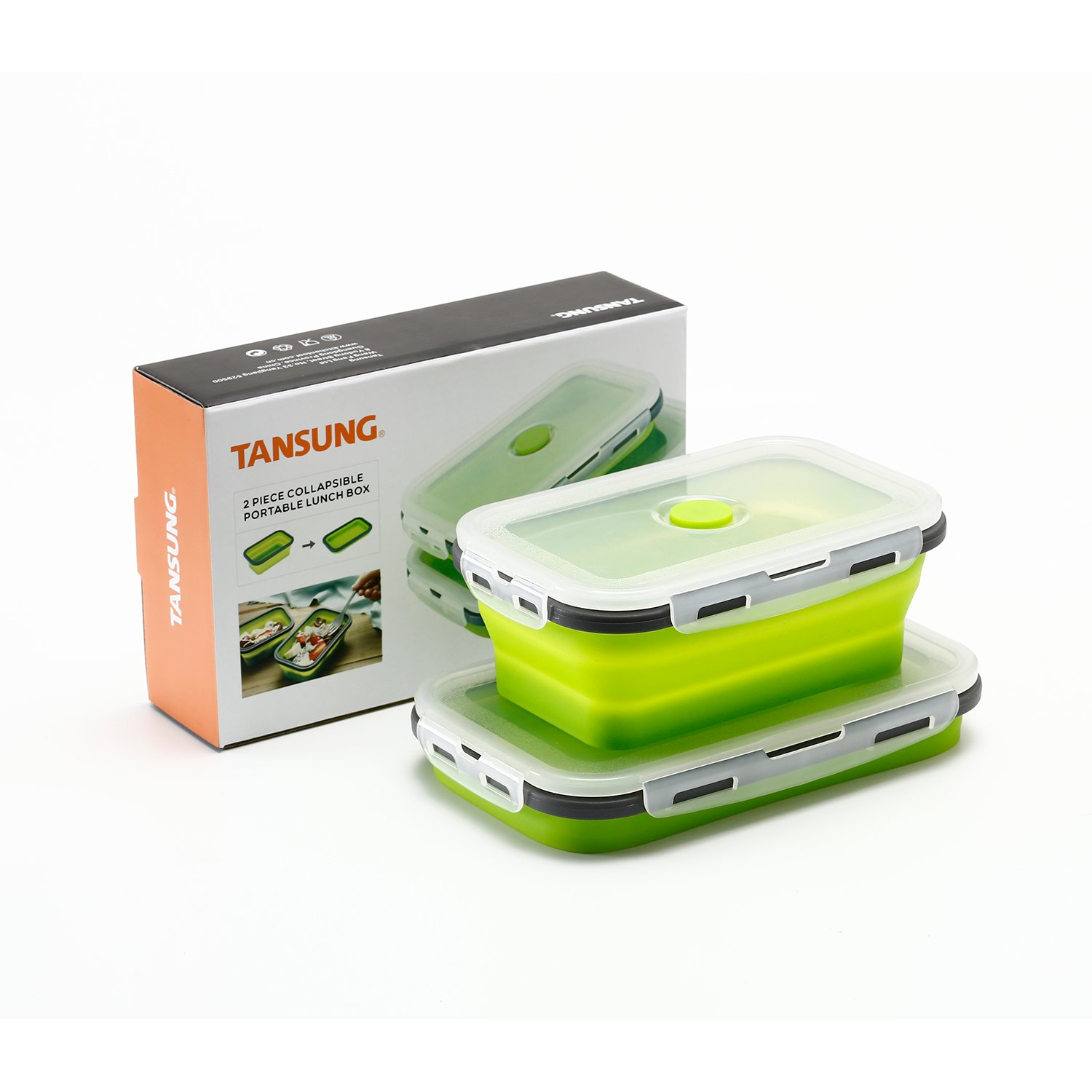 TANSUNG Silicone Collapsible Food Storage Containers - Set of 2 Bento Lunchboxes, BPA Free, Microwave, Dishwasher and Freezer Safe (800ML, 1200ML) (Large 28oz, X-Large 42oz)