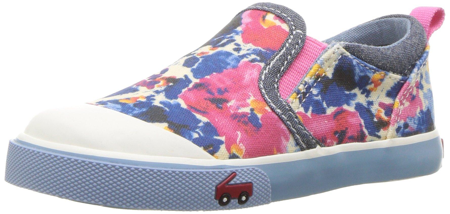 See Kai Run Girls' Italya Sneaker, Blue Watercolor, 12 M US Little Kid