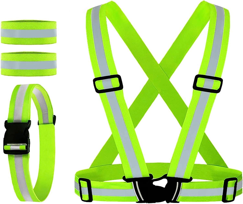 2x High Visibility Adjustable Night Running Security Reflective Safety Vest Belt