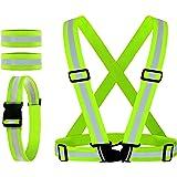 Reflective Vest, Reflective Glow Belt with 2Pack Reflector Armbands, Adjustable Elastic Safety Vest Outdoor Reflective Belt H