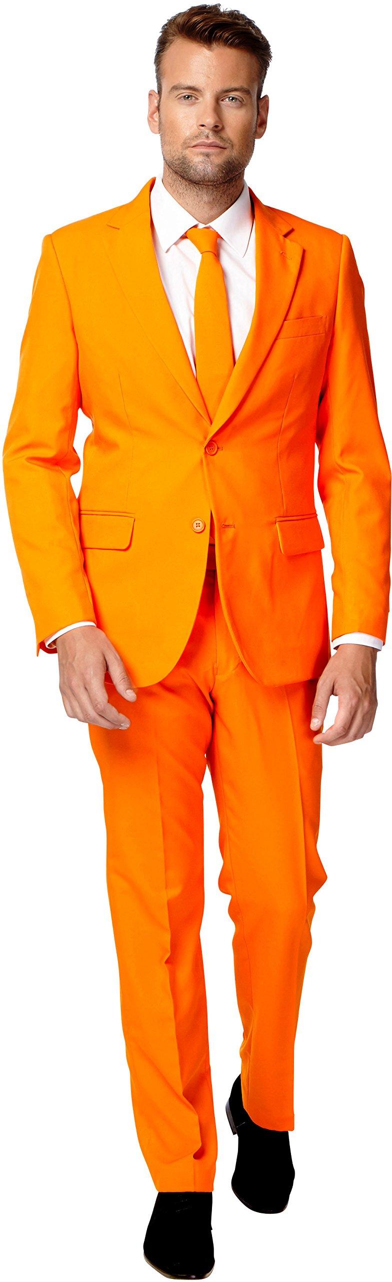OppoSuits Men's Party Costume Suit, Orange, 44