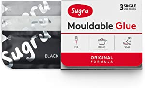 Sugru Moldable Glue - Original Formula - All-Purpose Adhesive, Advanced Silicone Technology - Holds up to 4.4 lb - Black, White & Gray 3-Pack
