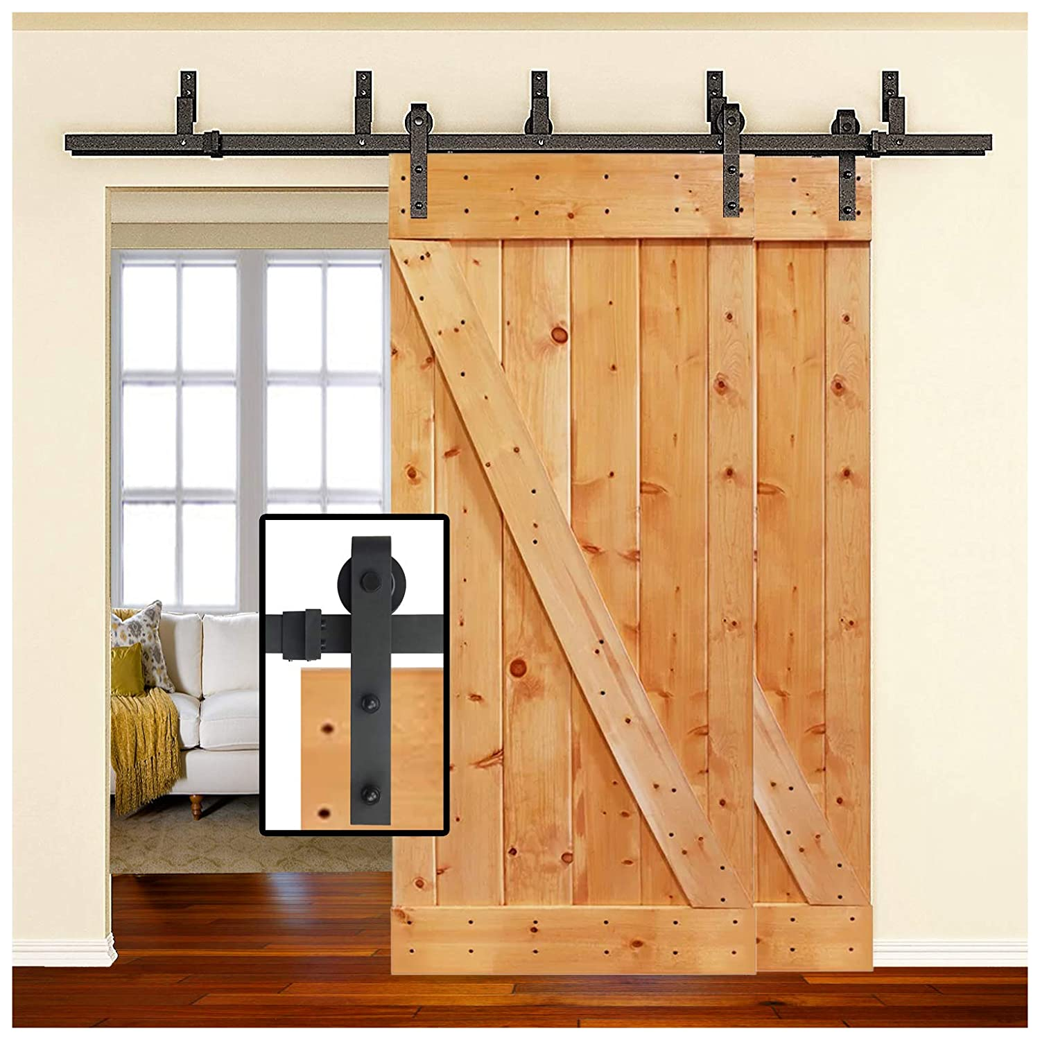 6-Foot Sliding Barn Door Bypass Hardware |Heavy Duty| Double Door| Powder  Coated Frosted Black | J Shape Hangers| 2 x 6 Foot Solid Rails |