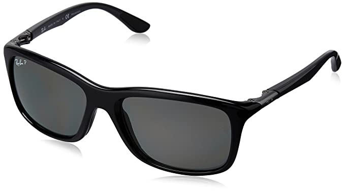 3944d731f0d8c Amazon.com  Ray-Ban Injected Man Sunglasses - Black Frame Dark Green Polar  Lenses 57mm Polarized  Clothing