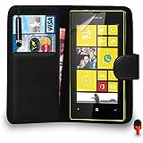 Nokia Lumia 520 Prime Cuir NOIR Portefeuille Retourner Cas Couverture Poche Avec Mini Toucher Style Stylo ROUGE Poussière Bouchon Écran Protecteur & Polissage Tissu SVL1 PAR SHUKAN®, (PORTEFEUILLE NOIR)