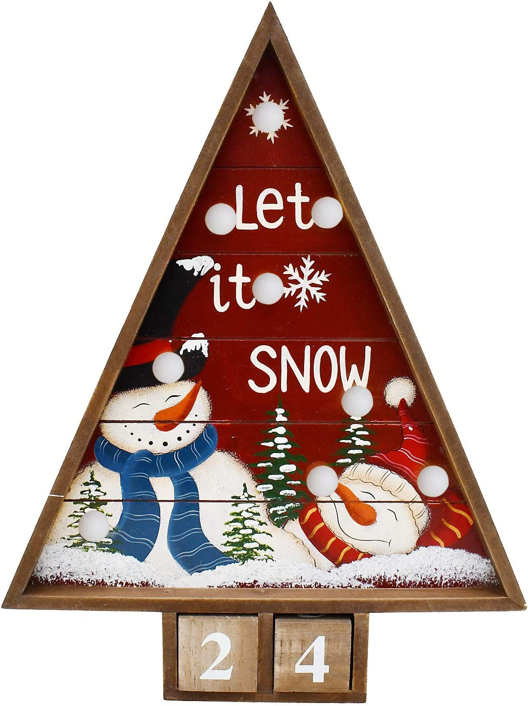 Wooden Advent Countdown Calendar with Lights and 2 Blocks - Days Until Christmas Countdown - Wood Snowman Santa Christmas Tree Tabletop Decoration Rustic Holiday Xmas Decor for Home (Snowman A)