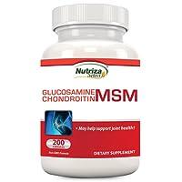 Nutriza Select - Integratore per le articolazioni con MSM, glucosamina, condroitina, 200 compresse, prodotto negli Stati uniti presso uno stabilimento con certificazione GMP, ricostituisce la cartilagine, rafforza le articolazioni