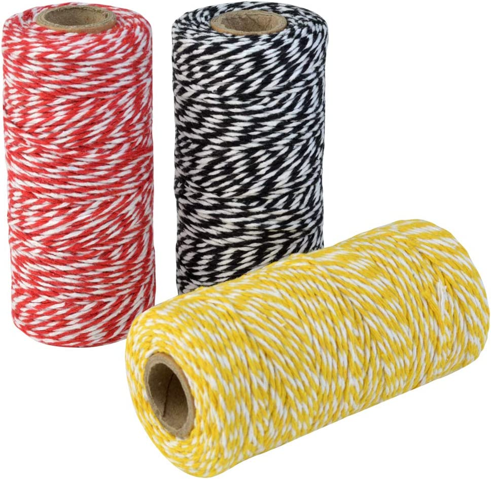 Red and White, Black and White, Yellow and White Topbuti 984 Feet 2mm Cotton Bakers Twine Christmas Wrapping Twine Gift Packing String Rope Cord for DIY Crafts Valentines Day Holiday