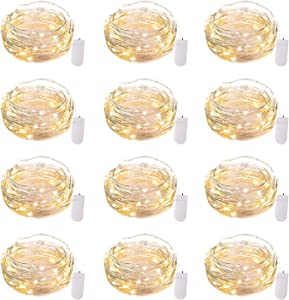 12 Pack Led Fairy Lights Battery Operated String Lights Waterproof Silver Wire, 7Ft 20 LED Firefly Starry Moon Lights for DIY Wedding Party Bedroom Patio Christmas (Warm White)