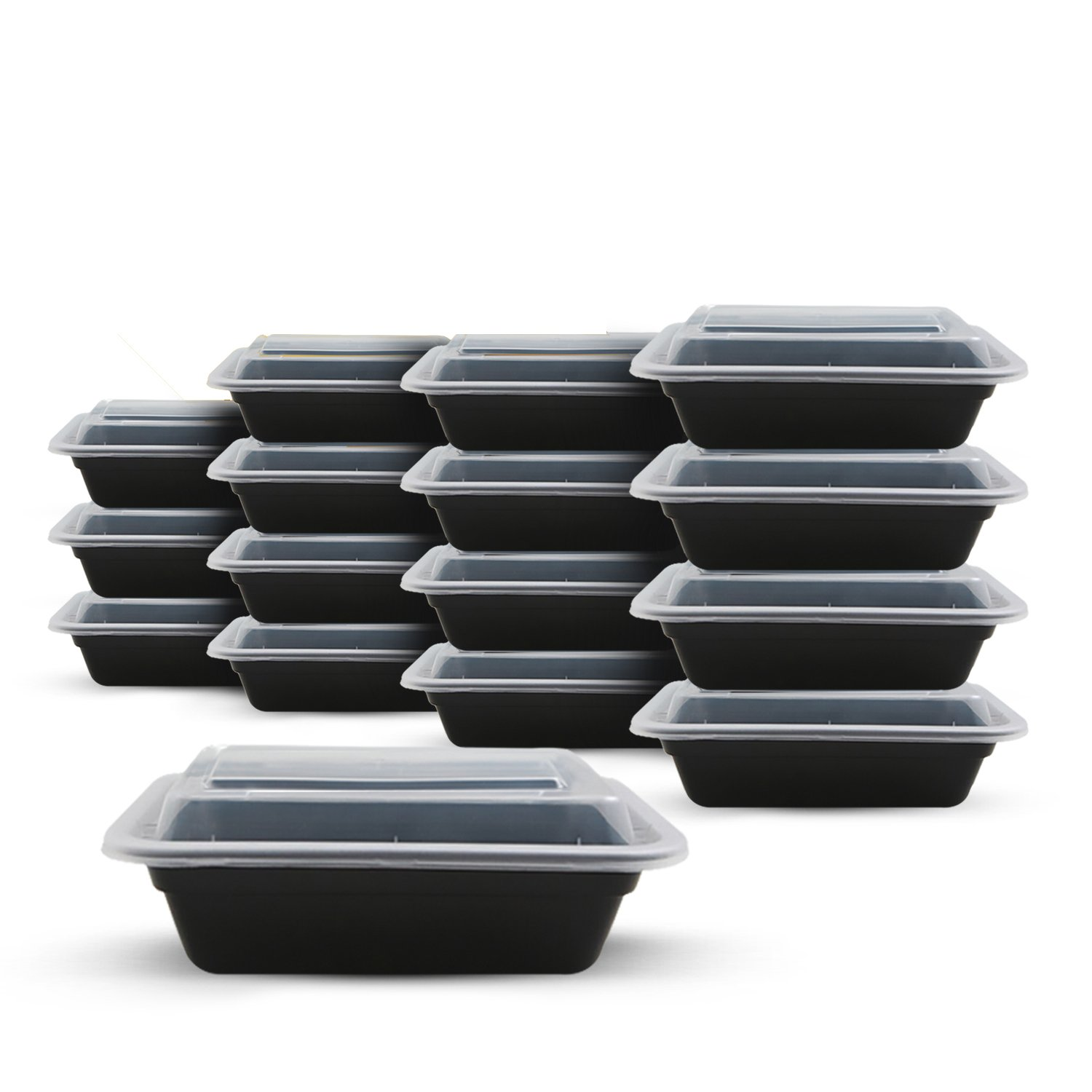 Fitpacker SMALL Meal Prep Containers - Plastic Stackable Reusable Storage - Microwave, Dishwasher, Freezer Safe (16oz - Set of 16)