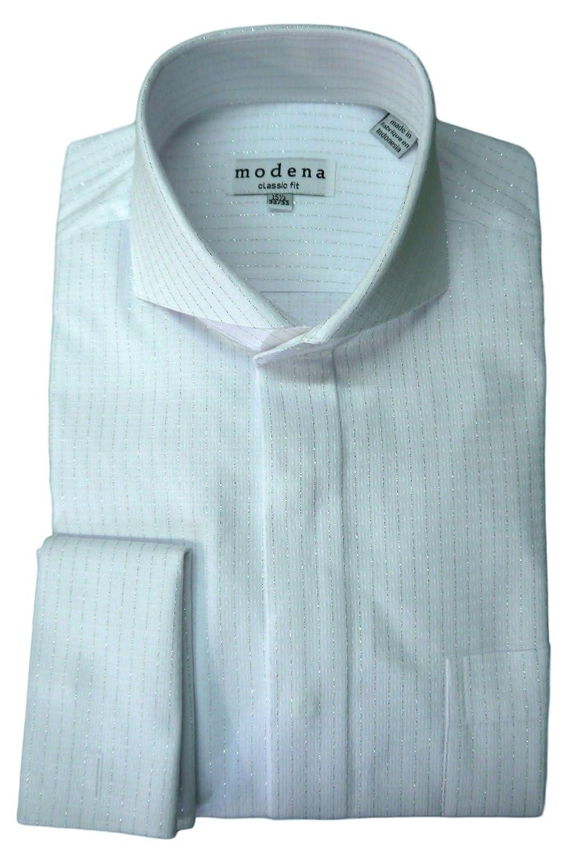 Modena Mens Metallic Stripe Cutaway Collar French Cuff Dress Shirt