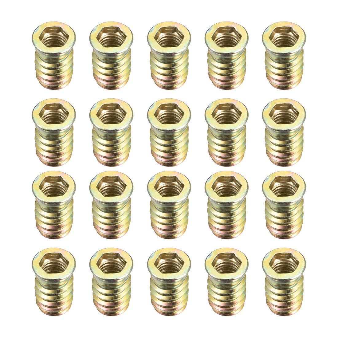 sourcing map Wood Furniture M8 x 30 mm Thread Insert Nut Interface Hexagon Socket Drive Pack of 50