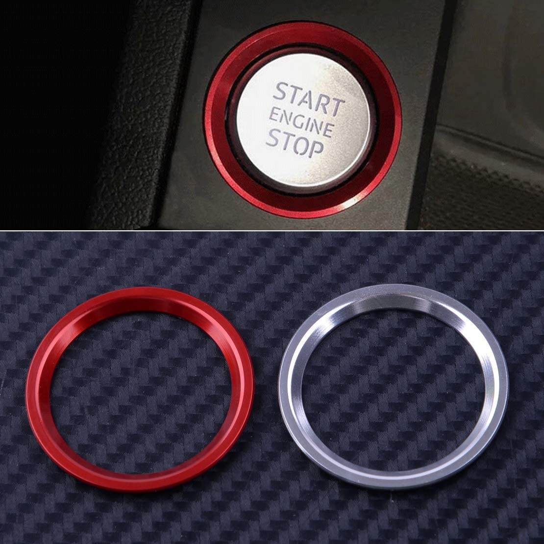 CITALL Automotor Start Stop Stop Z/ündschalter Druckknopf Dekorative Ringblende Rot