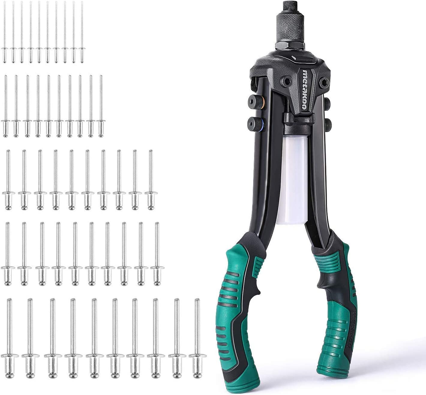 """Rivet Gun,13/"""" Heavy Duty Hand Riveter with 5 Interchangable Color-Coded Heads,5 in 1 Hand Riveter Set with 50-Piece Rivets-METAKOO-MHR02"""