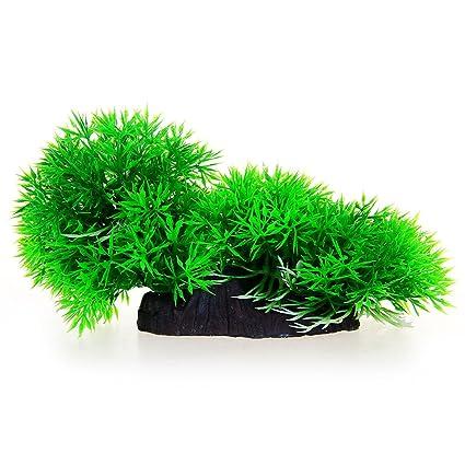 Planta Artificial Plástico Decoración para Acuario Pecera Verde NEW