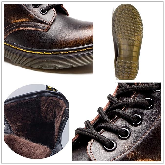 SITAILE Unisex-Erwachsene Bootsschuhe Derby Schnürhalbschuhe Kurzschaft Stiefel Winter Boots für Herren Damen Braun EU46 OFLxC2
