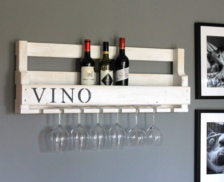 Decoratie wijnrek glazenhouder belettering Good Bottle gevlamd klaar gemonteerd rustieke wijnflessen plank hout Wit (met vino-belettering).