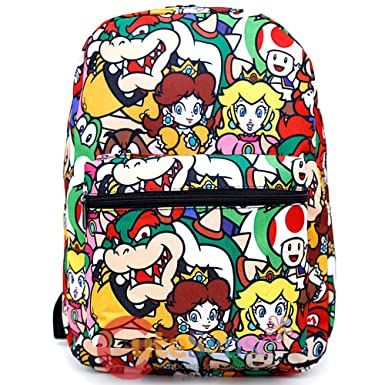 Super Mario Grande Mochila Escolar todo Prints Bolsa para libro Yoshi Bowser Peach: Amazon.es: Ropa y accesorios