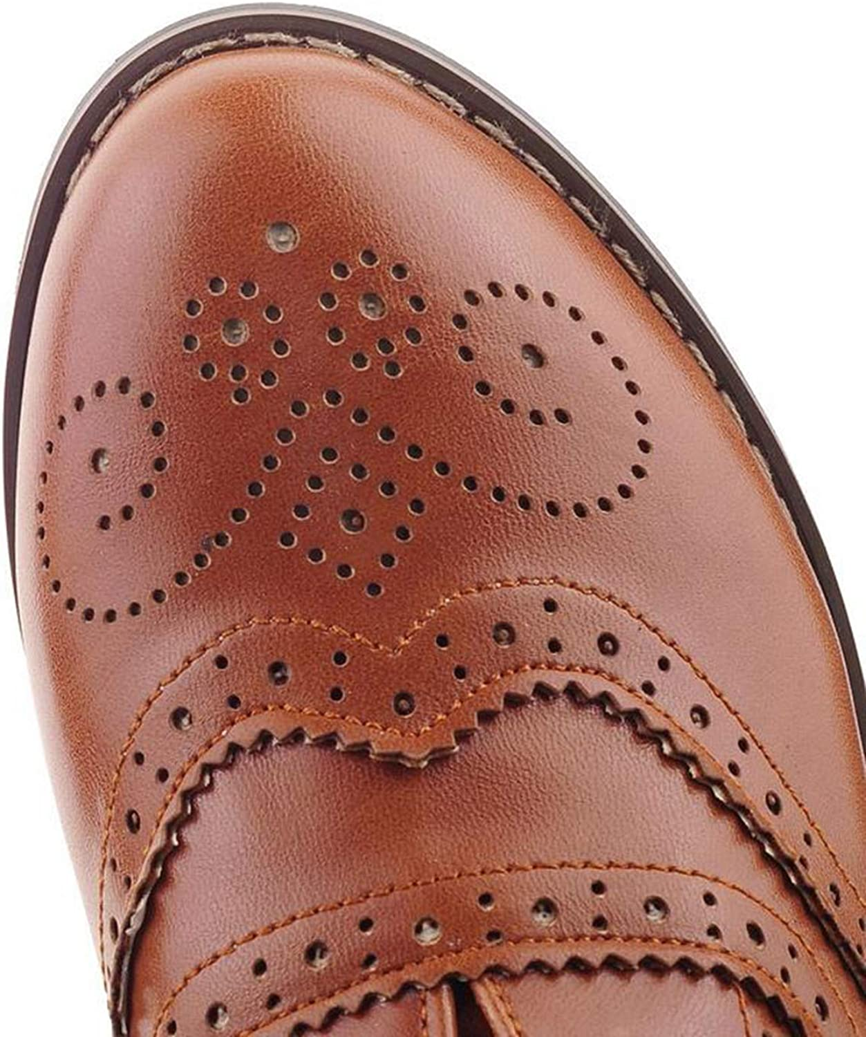Women Oxfords Round Toe Lace Up Oxford Shoes Flat Oxfords Beige White